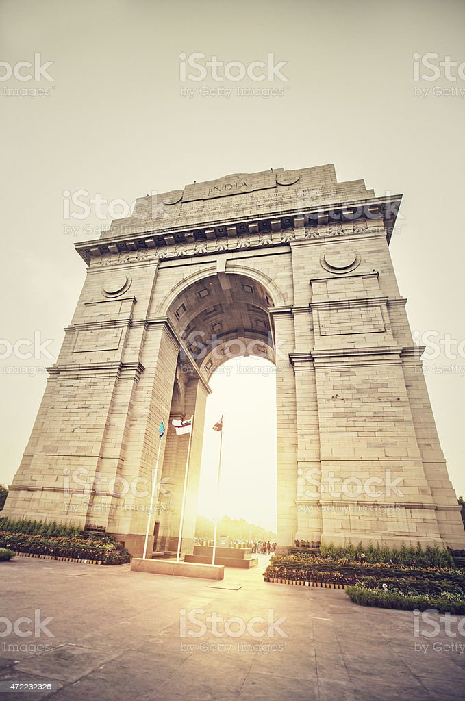 Sunset in India Gate stock photo