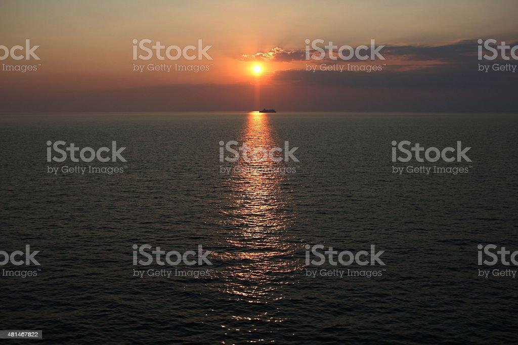 sunset in Ioanian sea stock photo