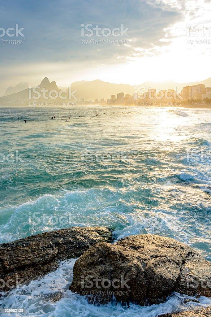 Sunset in Ipanema and Leblon stock photo