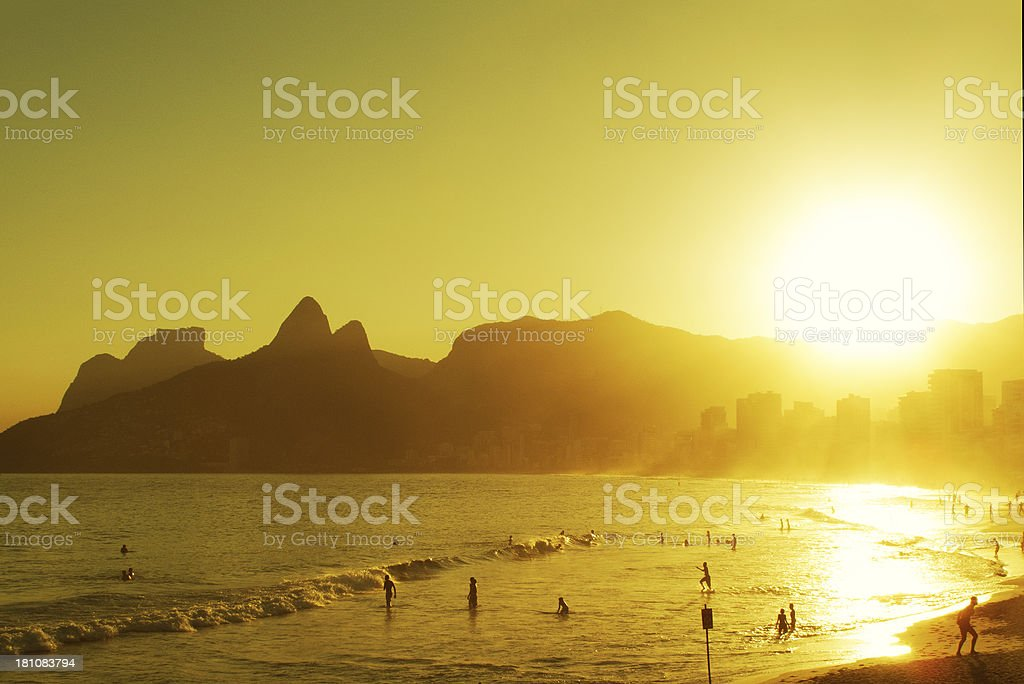 Sunset in Ipanema Beach royalty-free stock photo
