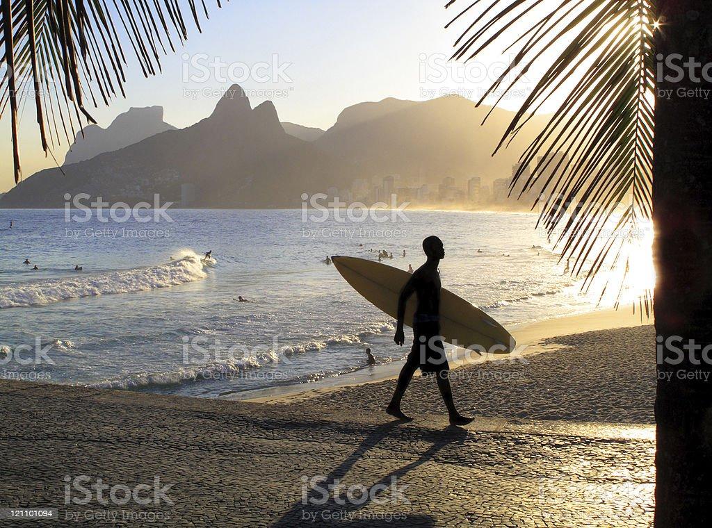 Sunset in Ipanema Beach - Rio de Janeiro royalty-free stock photo