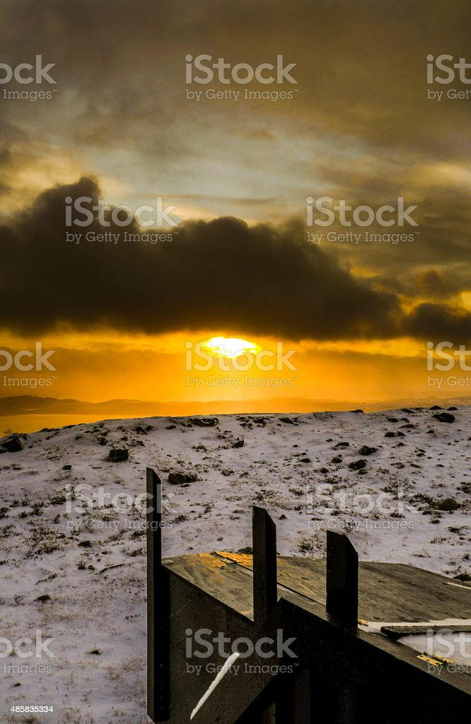 Sunset in Iqaluit stock photo