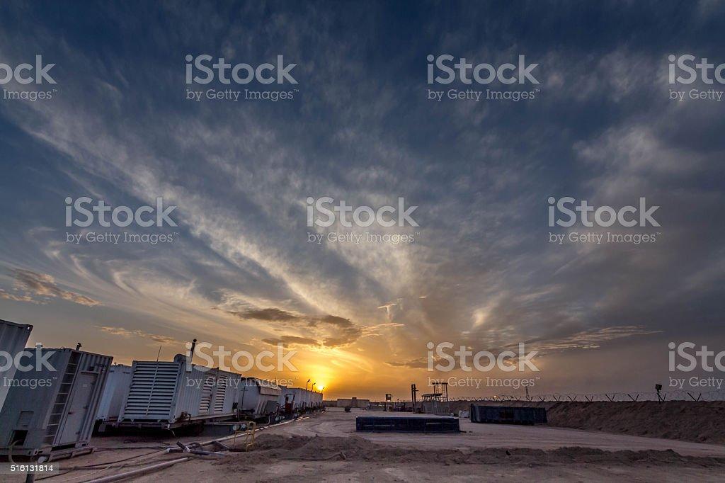 sunset  in iraq stock photo