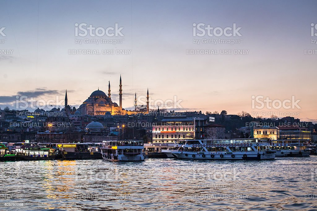 Sunset in Istanbul stock photo