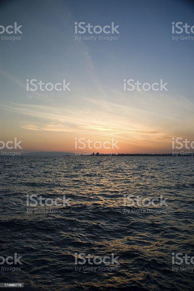 sunset in izmir city royalty-free stock photo
