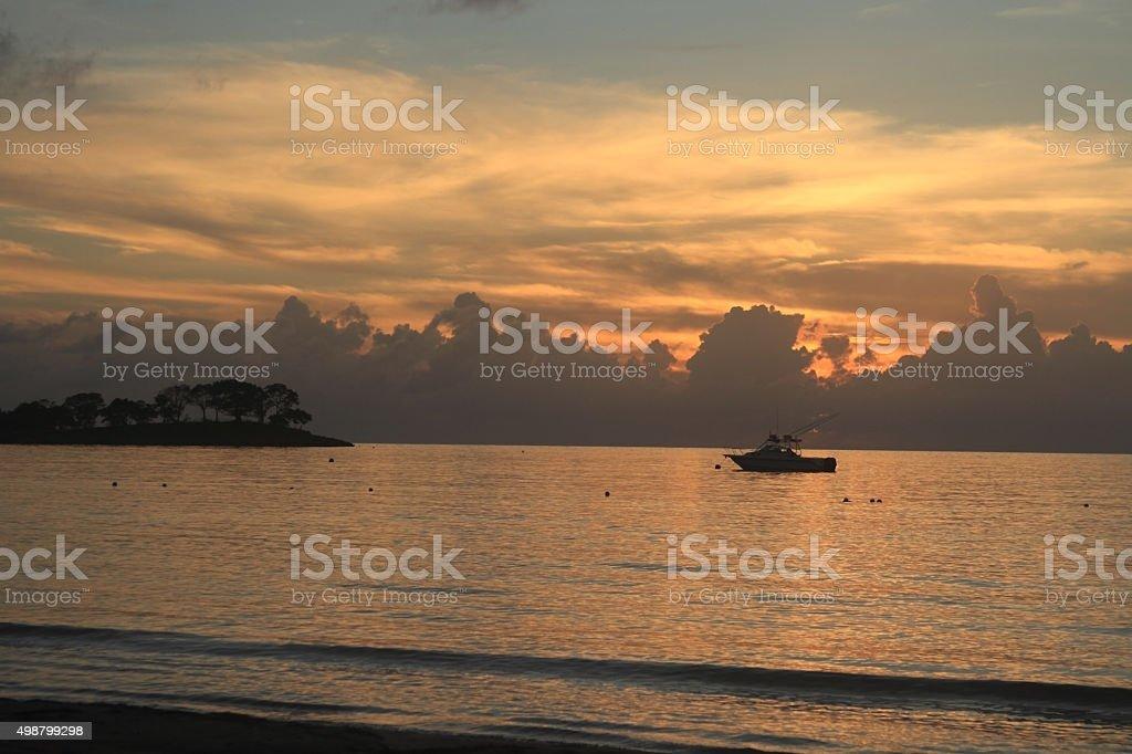 Sunset in Jamaica, Caribbean sea royalty-free stock photo