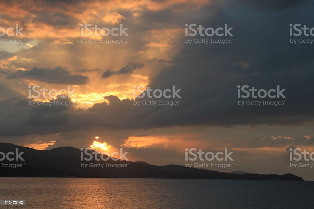 Sunset in Jamaica, Caribbean sea royalty-free stock photo