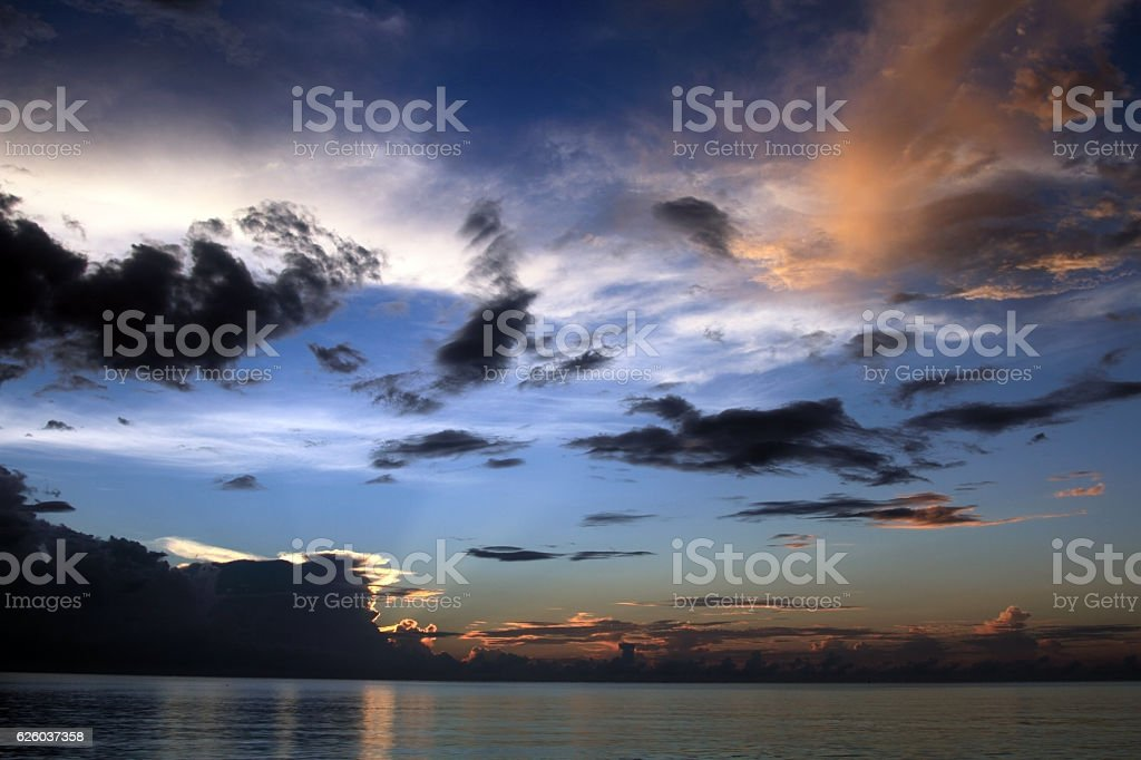 Sunset in Jamaica, Seven mile beach, Caribbean sea royalty-free stock photo