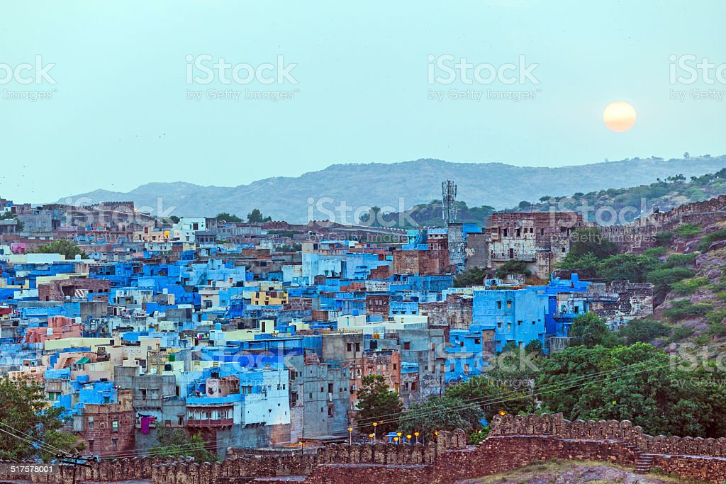 sunset in Jodhpur the blue city in Rajasthan stock photo