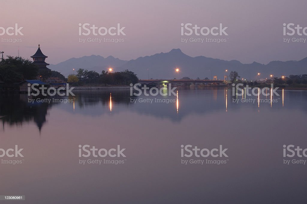 Sunset in Kanchanaburi Thailand royalty-free stock photo