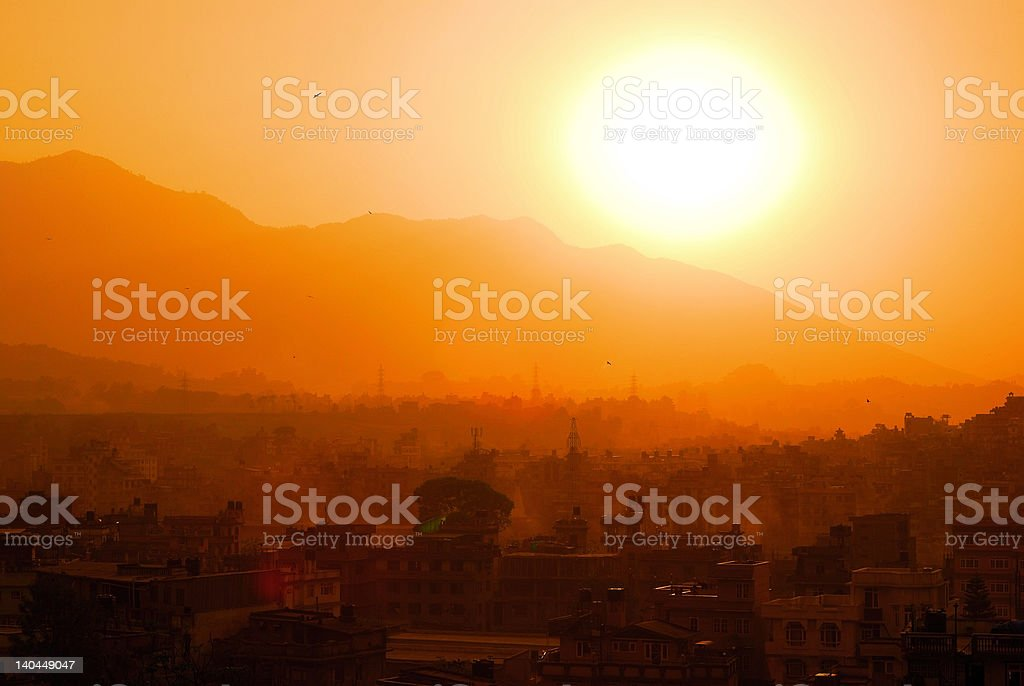 Sunset in Kathmandu, Nepal stock photo