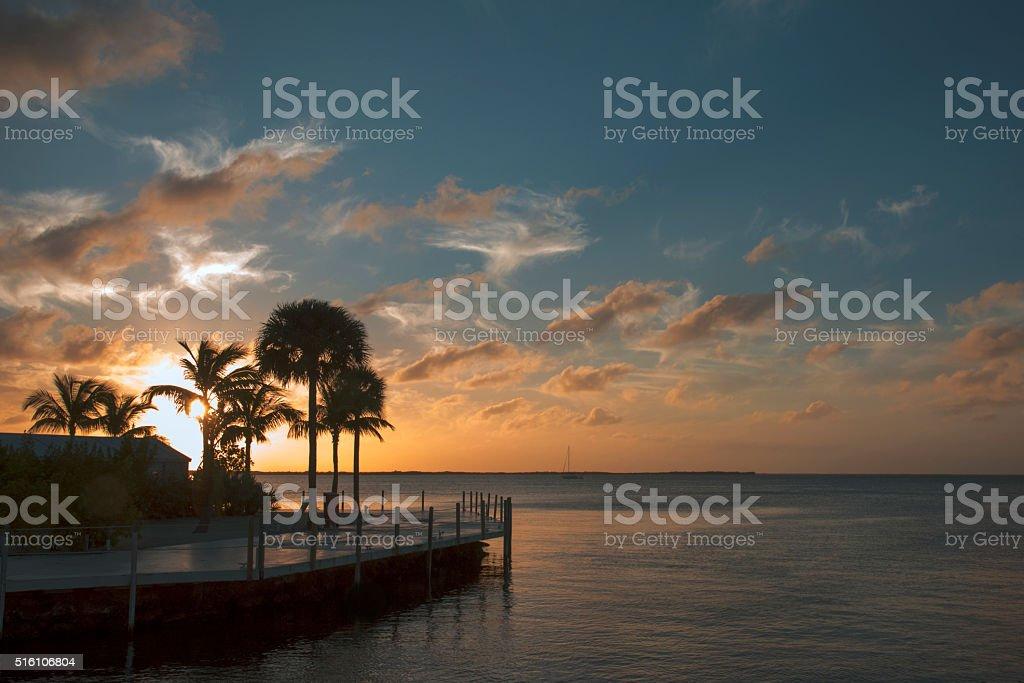 Sunset in Key Largo stock photo