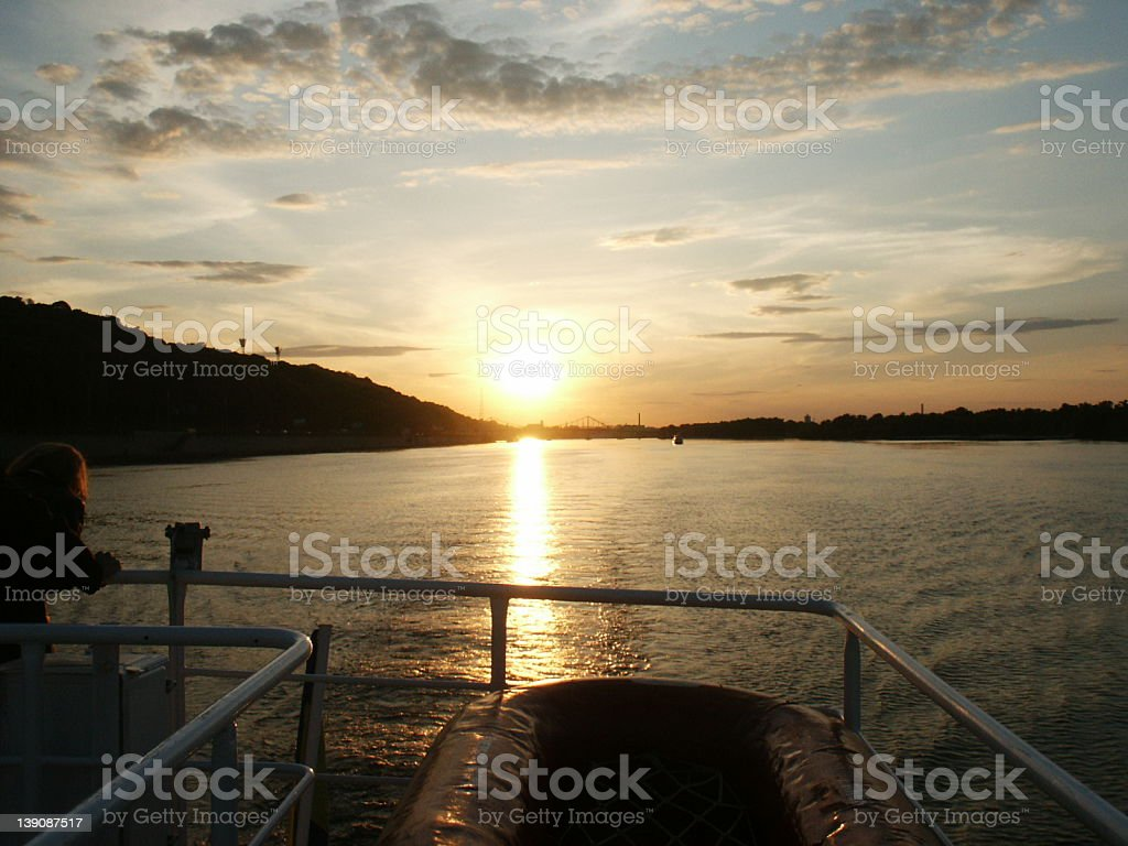 Sunset in Kiev on the Dnepr river royalty-free stock photo