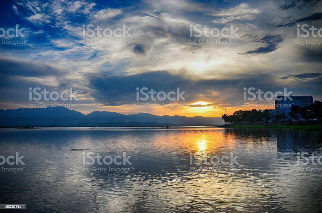 Sunset in Kwan phayao Thailand; stock photo