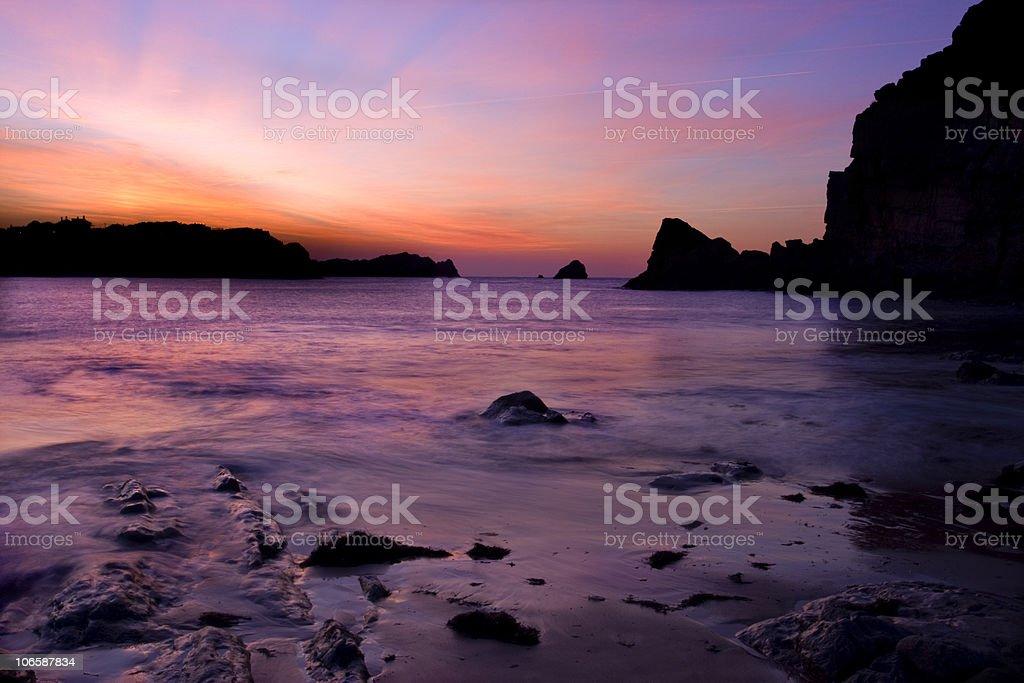 Sunset in La Arnia beach  (Spain) royalty-free stock photo