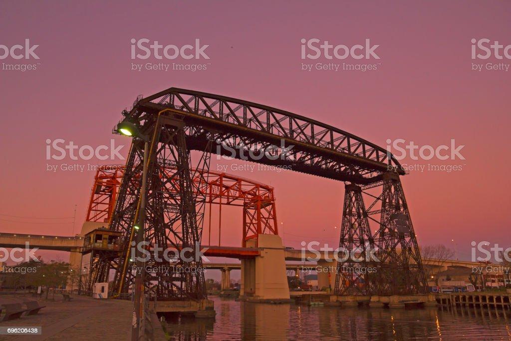 Sunset in La Boca, Bridge, in La Boca La Boca district, Buenos Aires city, Argentina. stock photo