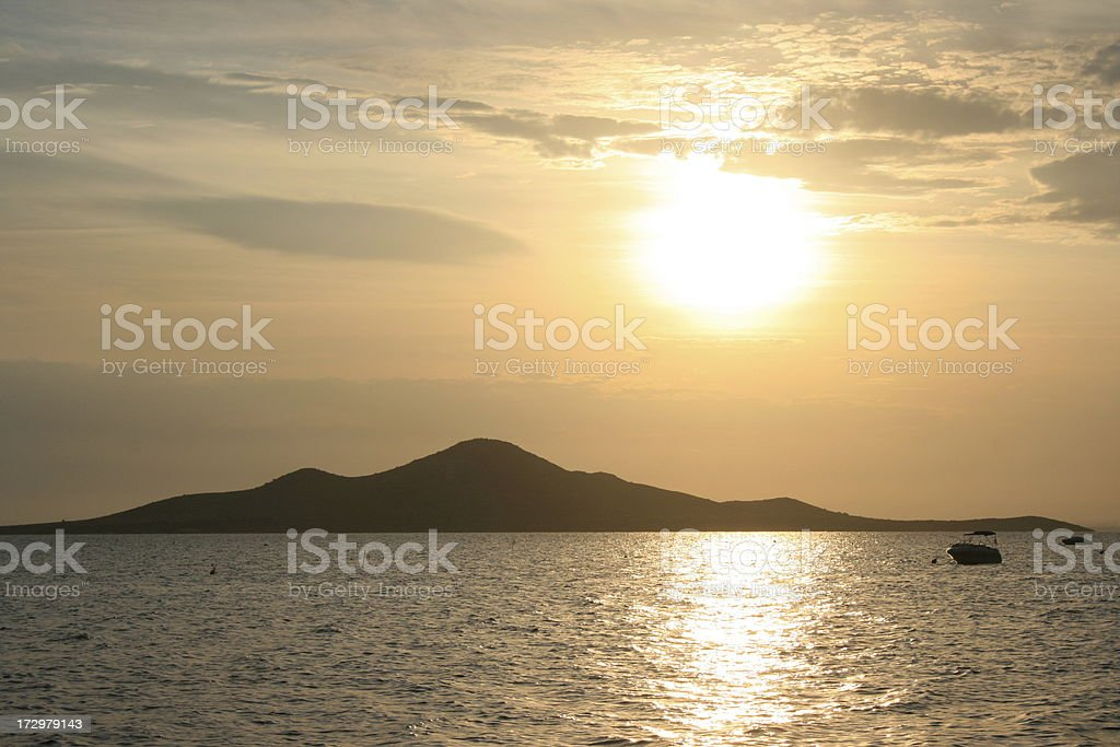 sunset in La Manga stock photo