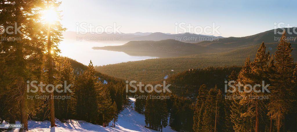 Sunset in lake tahoe ski resort stock photo