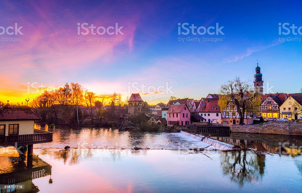 Sunset in Lauf an der Pegnitz stock photo