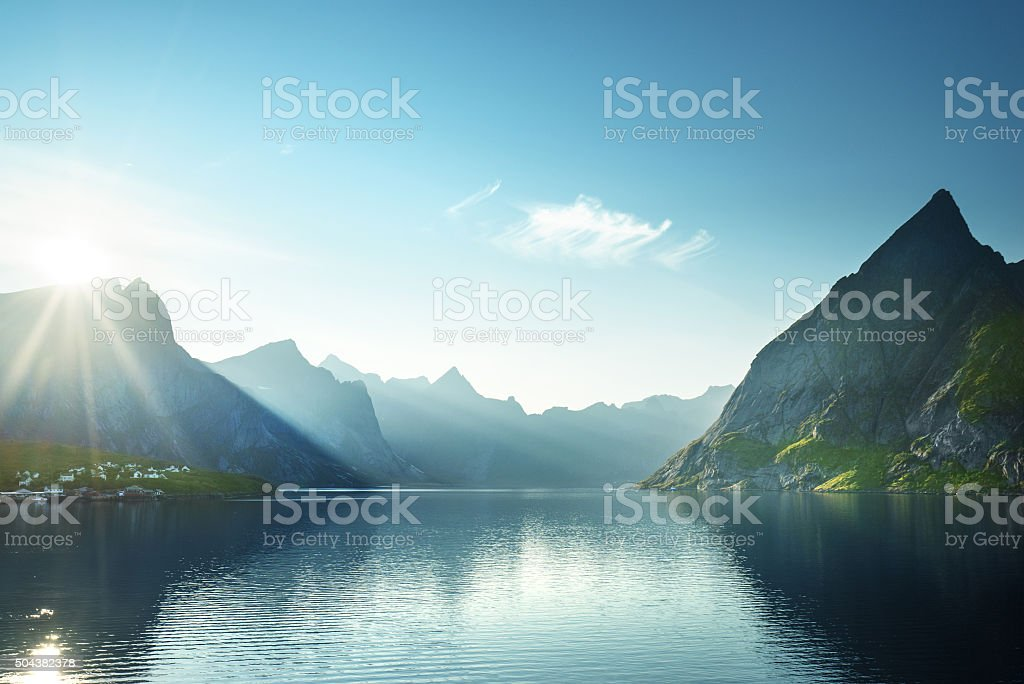 sunset in Lofoten islands, Norway stock photo