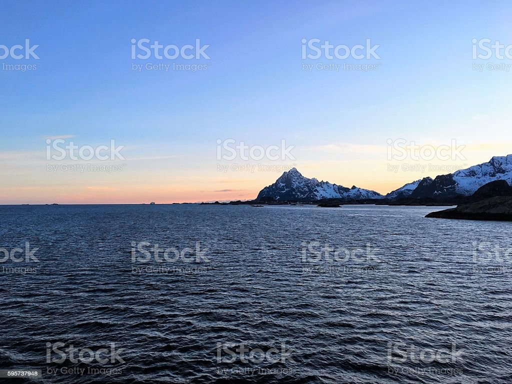 Sunset in Lofoten, Norway. stock photo