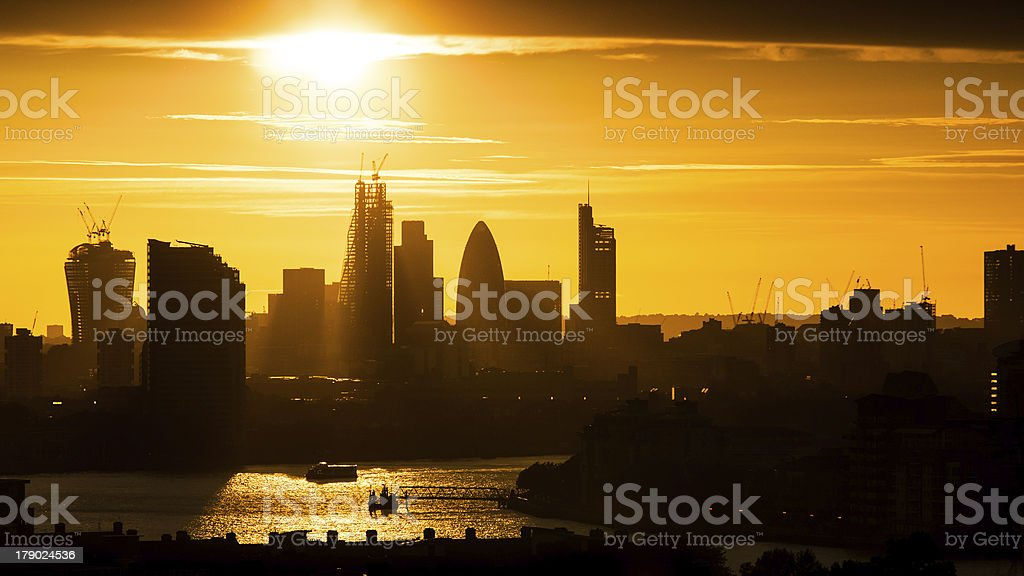 Sunset in London stock photo