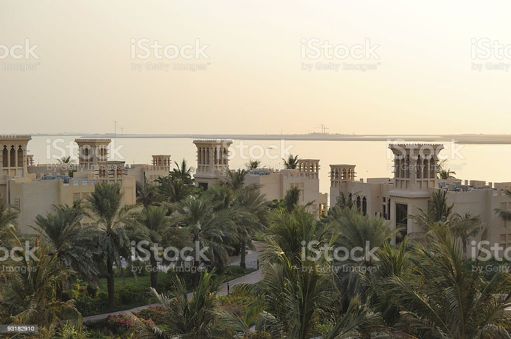 Sunset in luxurious hotel and view on Deira Palm royalty-free stock photo