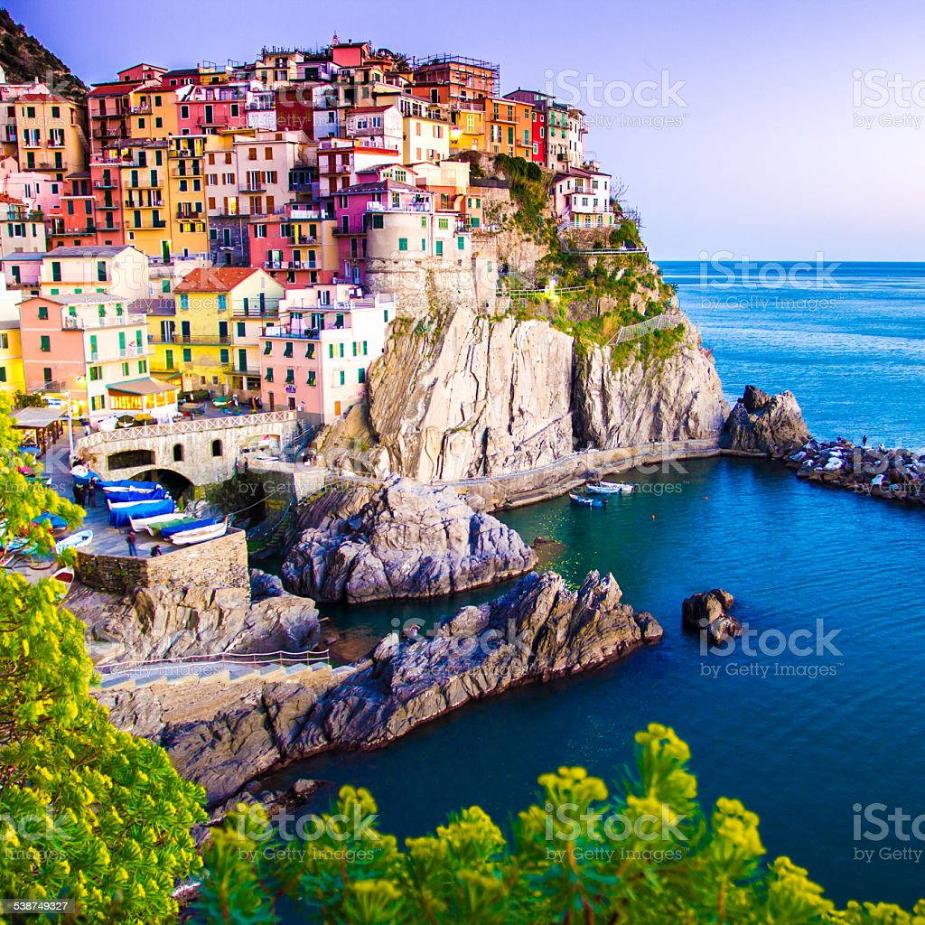 Sunset in Manarola, Cinque Terre, Italy stock photo