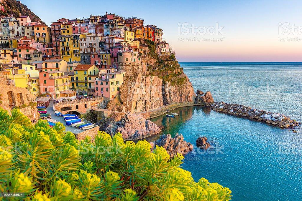 Sunset in Manarola, Cinque Terre, Italy stock photo