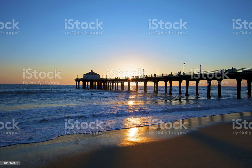 Sunset in Manhattan Beach royalty-free stock photo