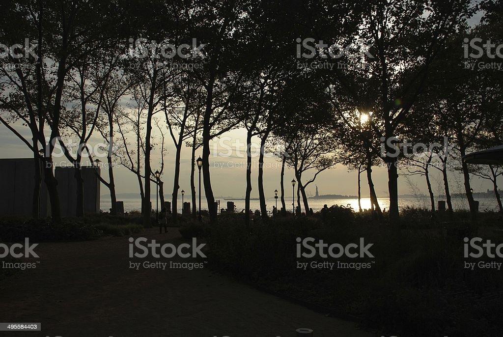 Sunset in Manhattan stock photo