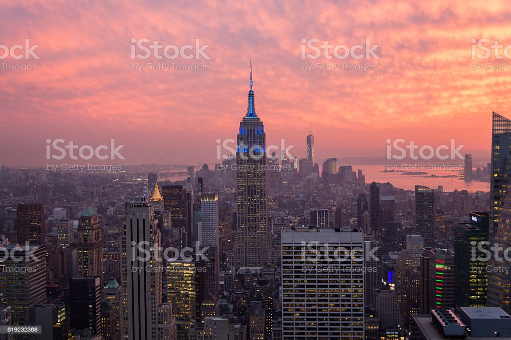 Sunset in Manhattan, the NewYork Skyline stock photo