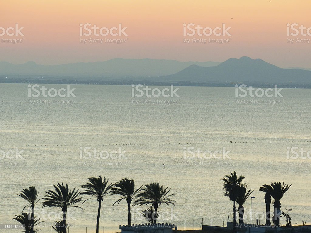 Sunset in Mar Menor stock photo
