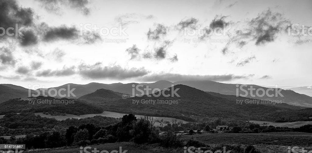 Sunset in Maremma, Tuscany. BW image stock photo