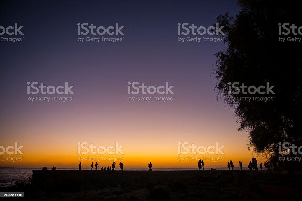 Sunset in Maspalomas Pier, Gran Canaria,Spain stock photo