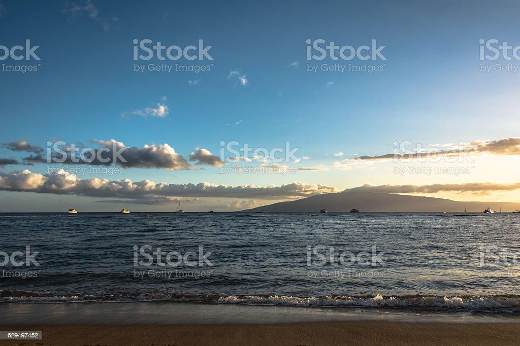 Sunset in Maui, Hawaii stock photo