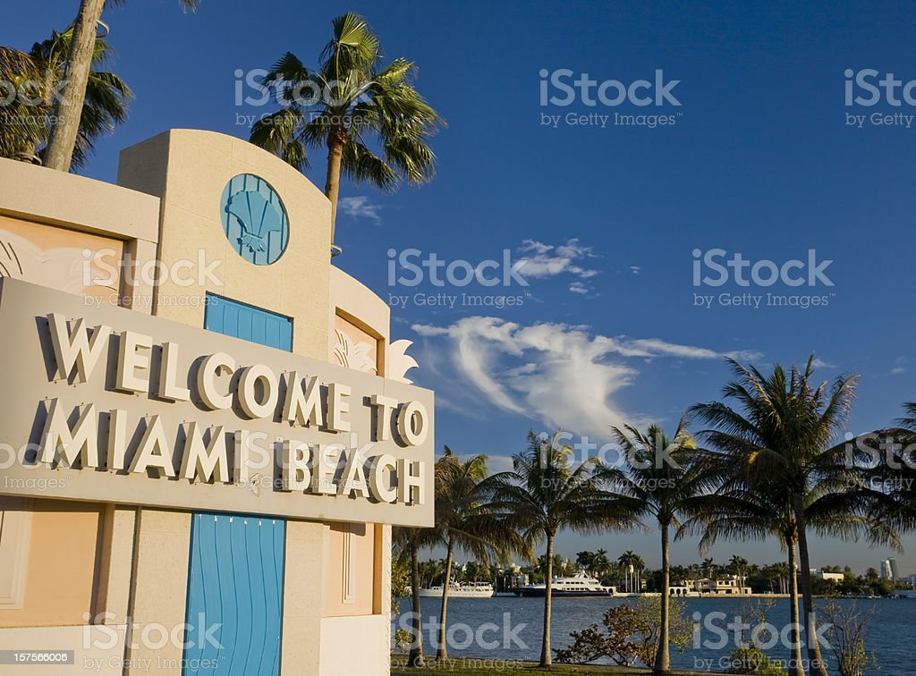Sunset in Miami Beach royalty-free stock photo