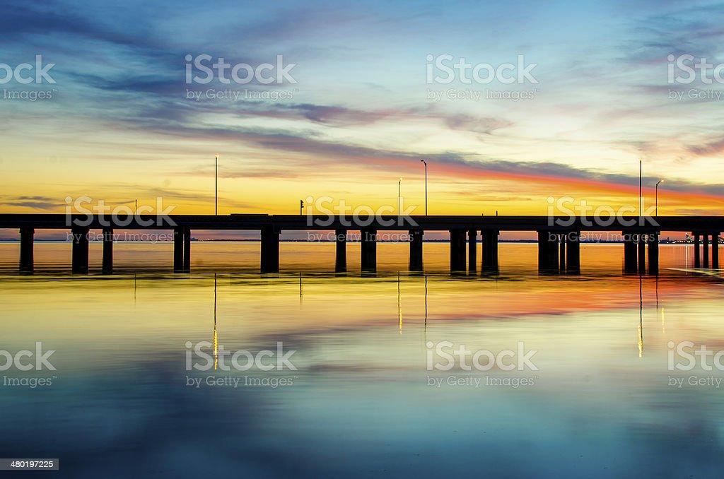 Sunset in Mobile Alabama stock photo