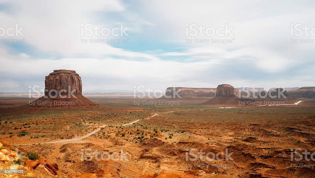 Sunset in Monument Valley stock photo
