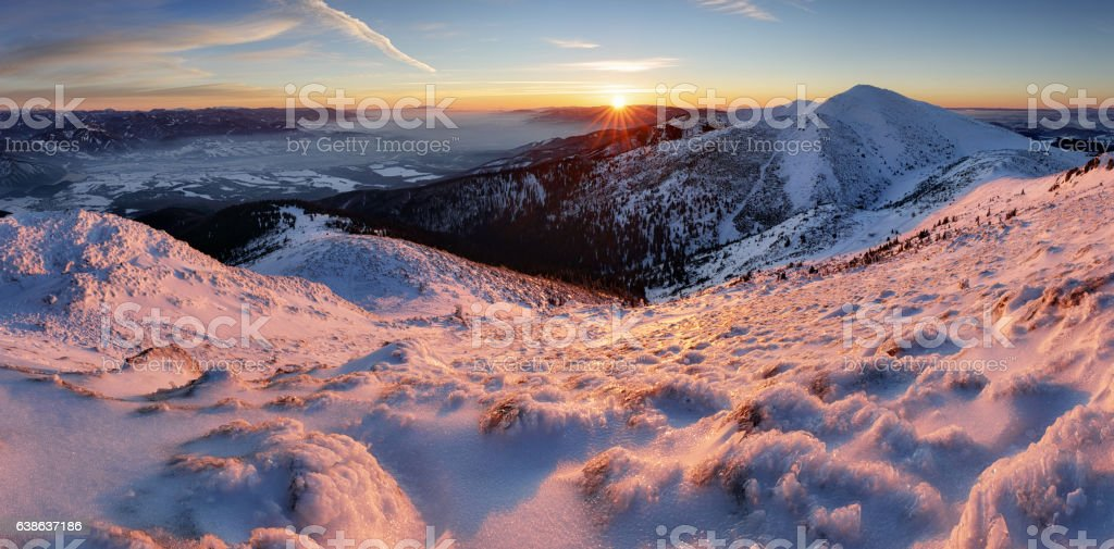 Sunset in mountain at winter stock photo