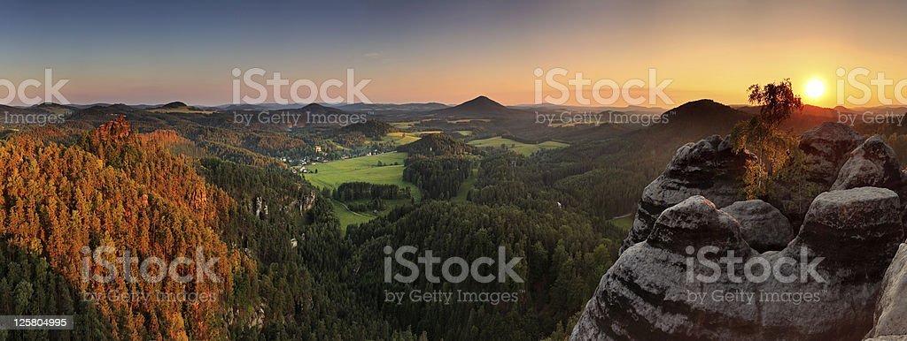 Sunset in mountain Czech Switzerland royalty-free stock photo