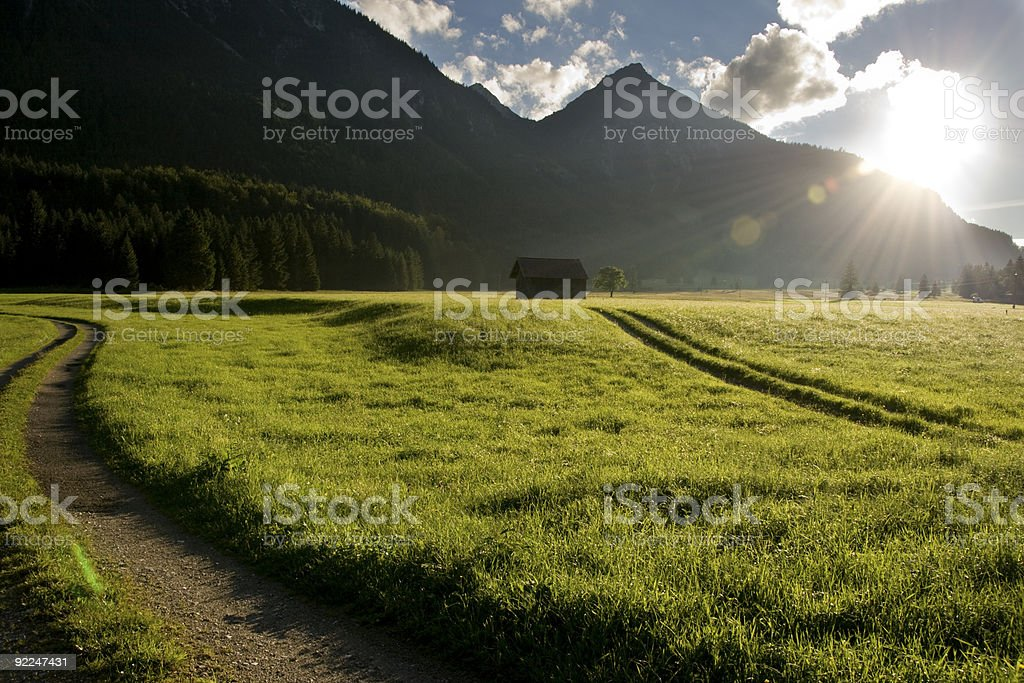 Sunset in Musau - Green Landscape with country roads stock photo
