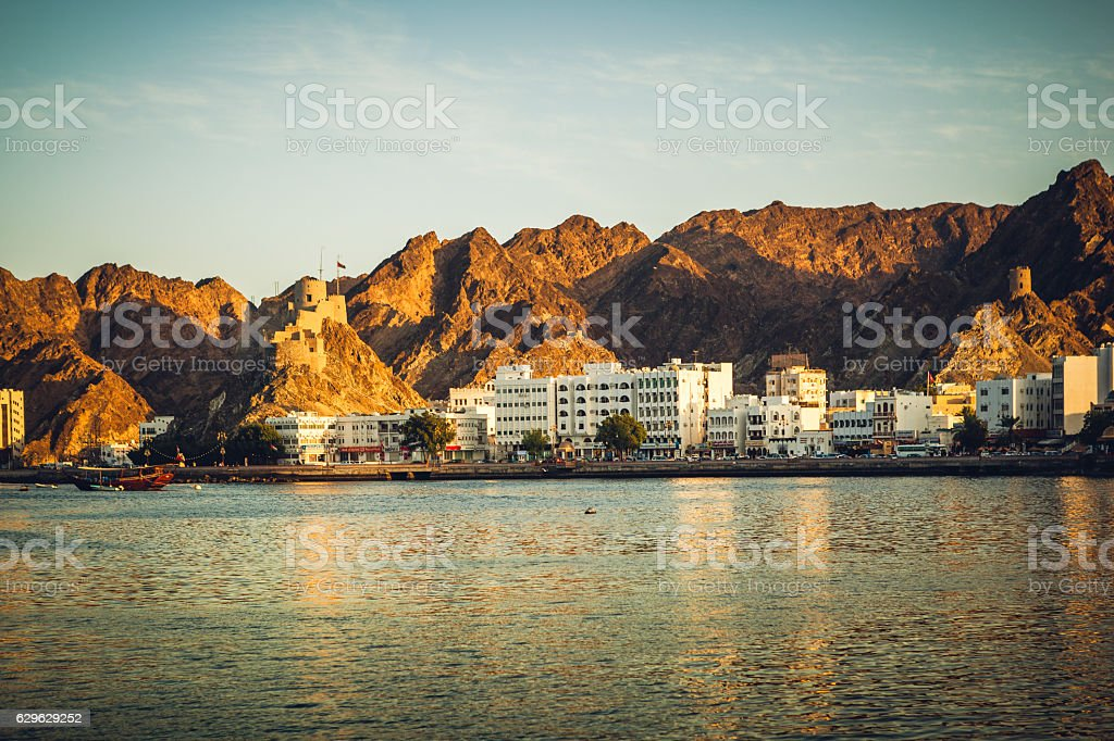 sunset in muscat, oman stock photo