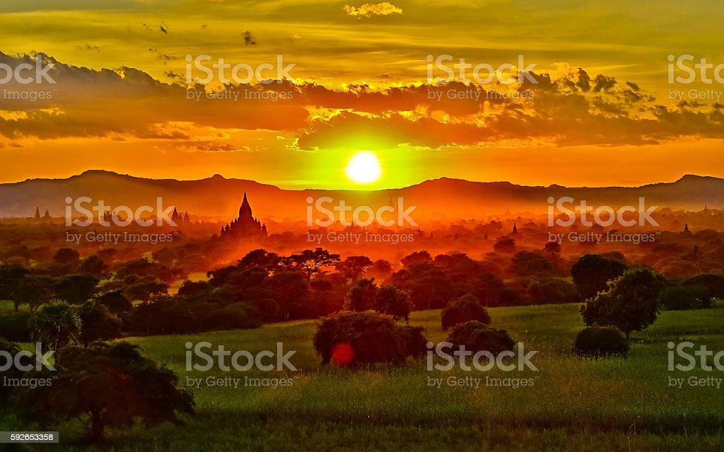 Sunset in Myanmar stock photo