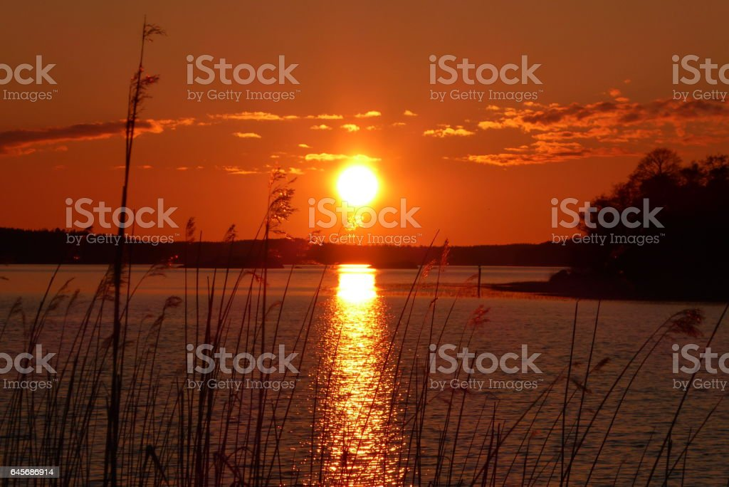 Sunset in Naantali stock photo