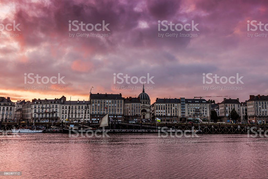 Sunset in Nantes stock photo
