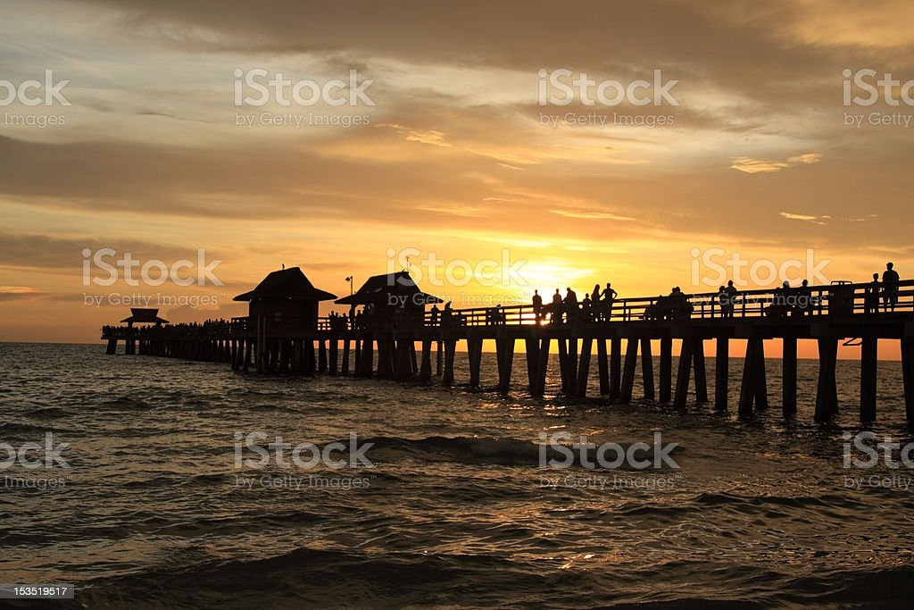 Sunset in Naples pier royalty-free stock photo