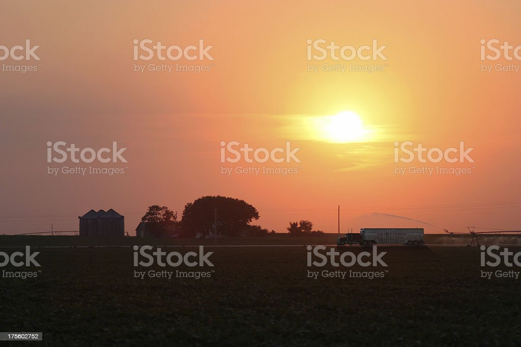 Sunset in Nebraska royalty-free stock photo