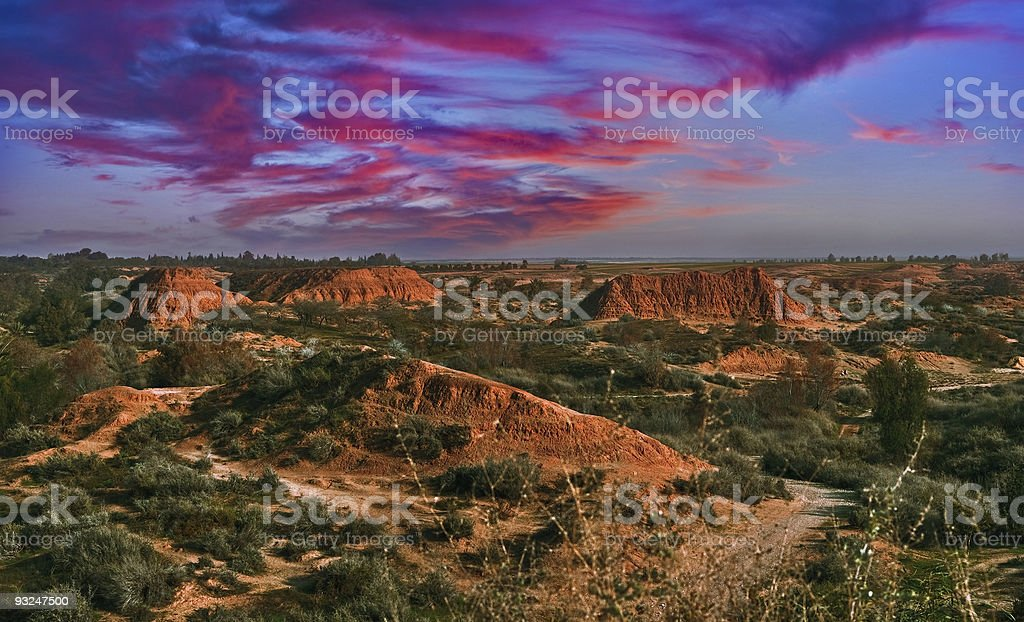 Sunset in Negev desert stock photo