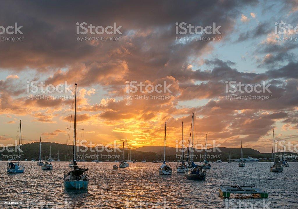Sunset in New Caledonia stock photo